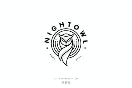 Owl Line Art Badge Logo