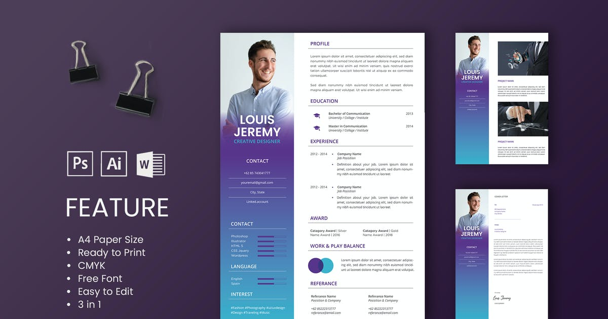 Download Professional CV And Resume Template Louis by WPBootstrap