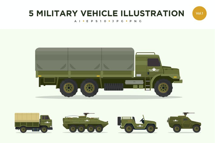 Thumbnail for 5 Military Vehicle Vector Illustration Set 1