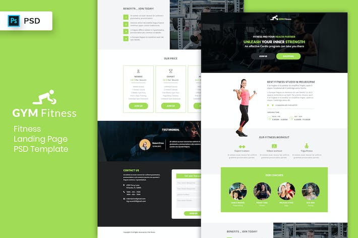 Thumbnail for Fitness - Landing Page PSD Template