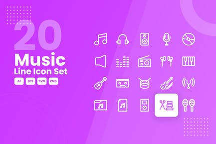 20 Music Line Icon Set