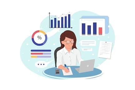 Mujer de negocios analiza los datos y hace informe.