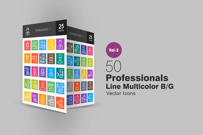 Thumbnail for 50 Professionals Line Multicolor Icons