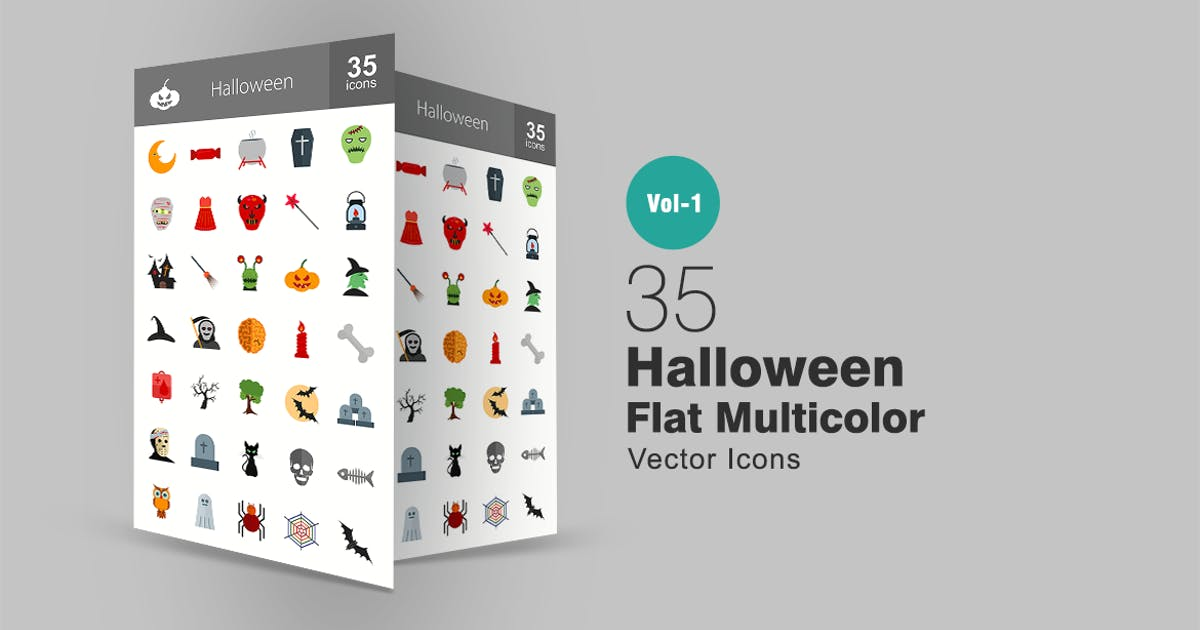 Download 35 Halloween Flat Multicolor Icons by Unknow