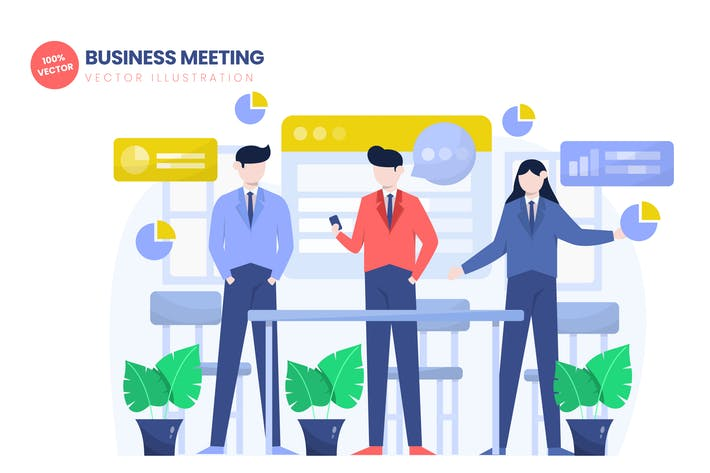 Thumbnail for Business Meeting Flat Vector Illustration