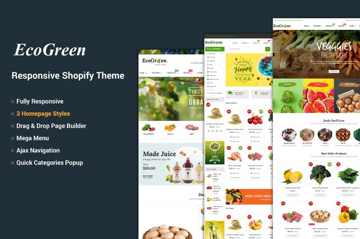 Thumbnail for EcoGreen - Organic, Frutas, Vegetales Shopify Tema