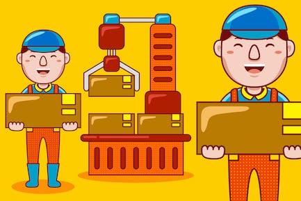 Factory Worker Profession Cartoon Vector