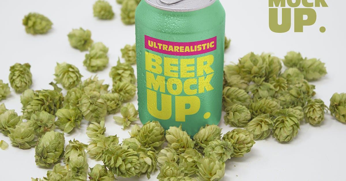 Download Perspective Hop Beer Can Mockup by SmartDesigns_eu
