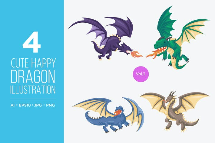 Thumbnail for Cute Happy Dragon Vector Character Set 3