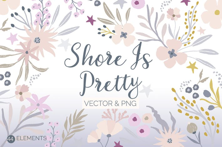 Thumbnail for Shore is Pretty - Painted Vector Flowers