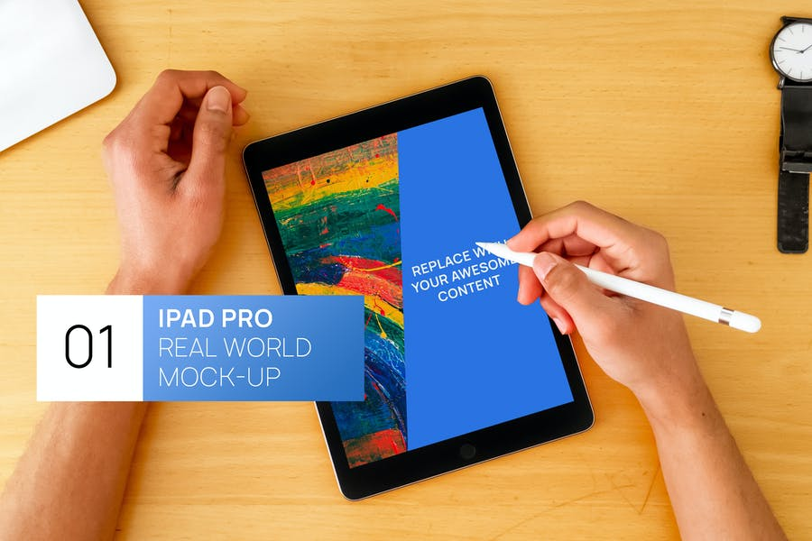 iPad Pro With Hands and Pencil Real World Mock-up