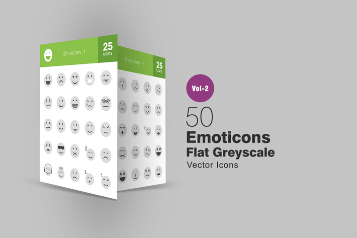 Thumbnail for 50 iconos de escala de grises de emotiÍconos