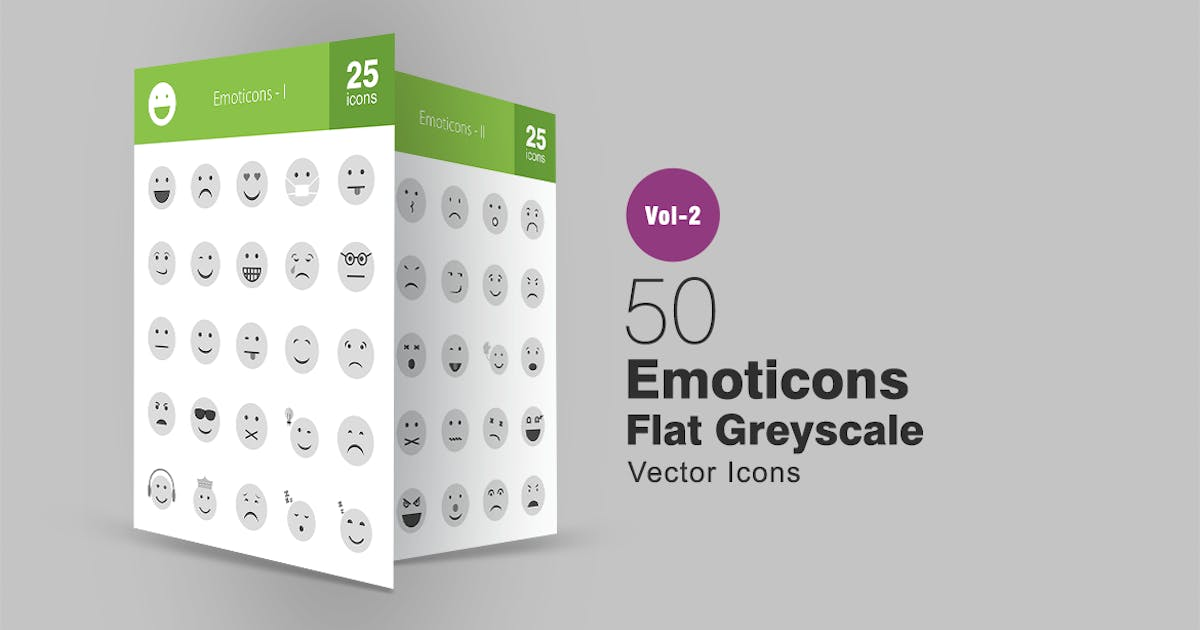 50 Emoticons Greyscale Icons by IconBunny