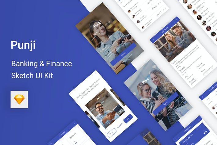 Thumbnail for Punji - Banking & Finance UI Kit for Sketch