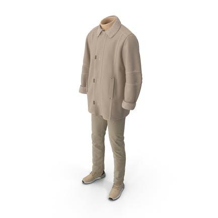 Mens Boots Pants Coat Pullover Beige