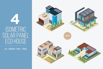 Isometric Solar Panel Eco House Vector Set 3