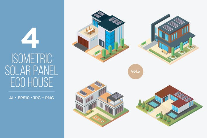Thumbnail for Isometric Solar Panel Eco House Vector Set 3