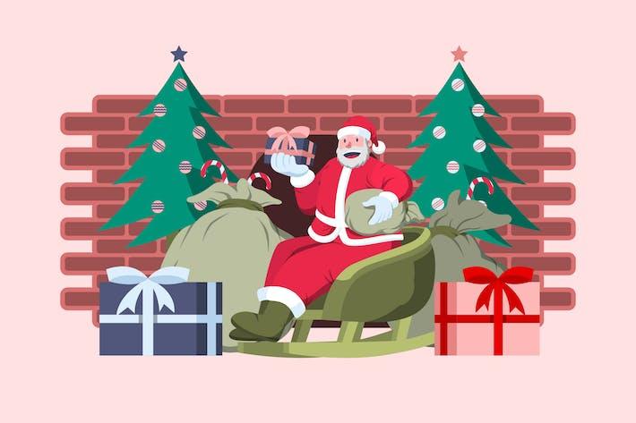 Feliz Papá Noel con regalos - Ilustración de Navidad