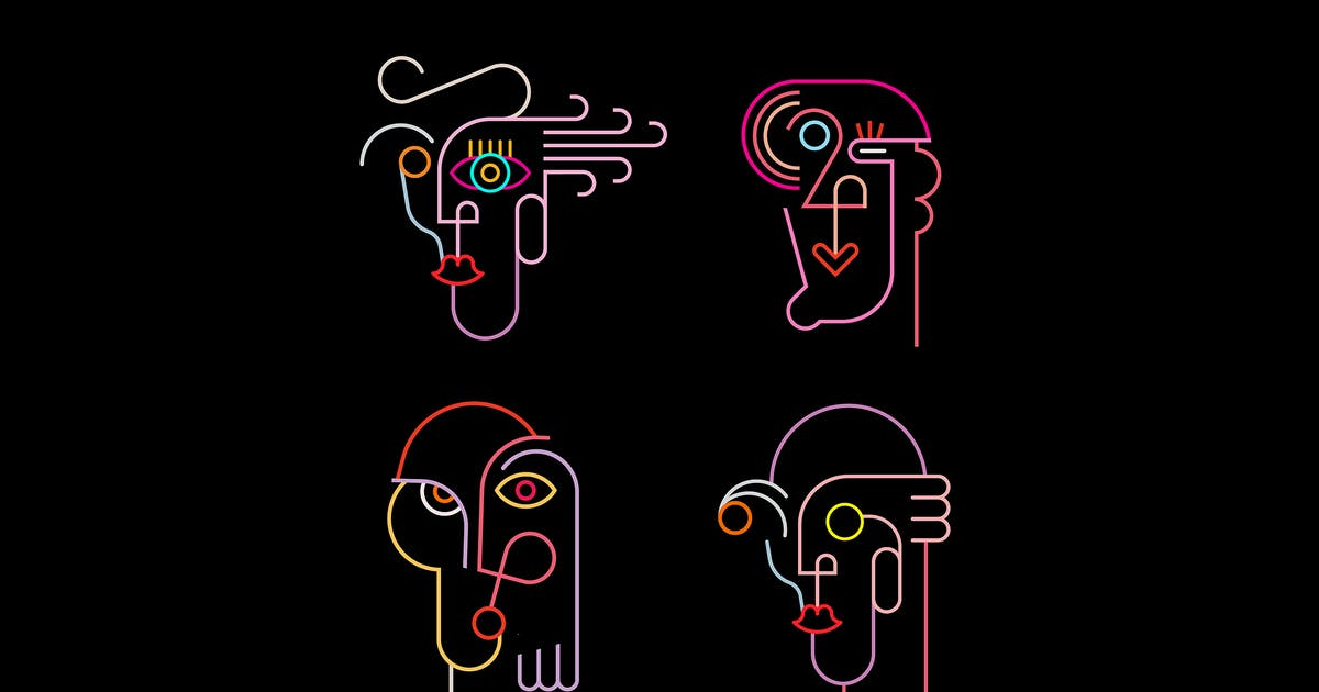 Download Four Neon Avatars Vector Icons by danjazzia