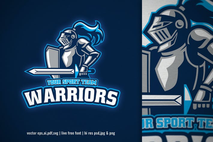 Thumbnail for warrior knight mascot for sport and e-sport logo