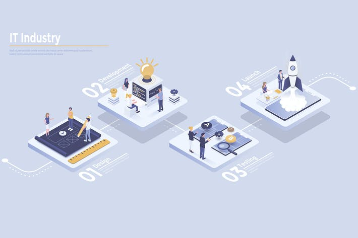 Thumbnail for Modern Isometric Infographics design