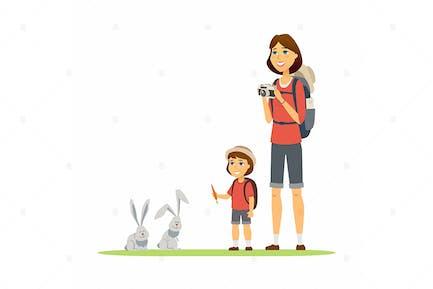Madre e hija - ilustración Vector