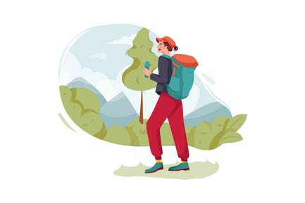 Girl with backpack going for trekking