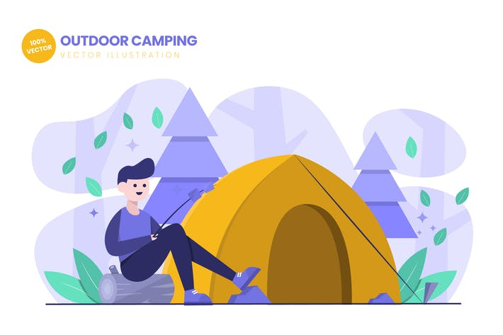 Thumbnail for Outdoor Camping Flat Vector Illustration