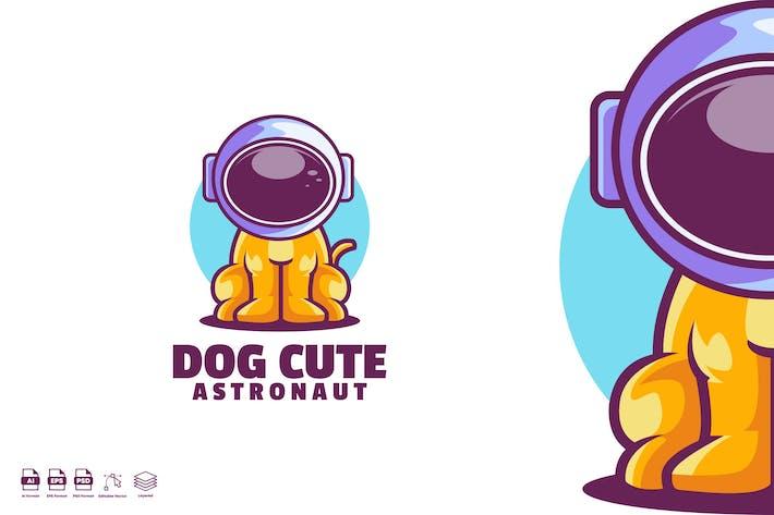Dog cute Astronaut logo