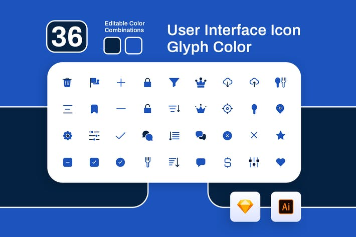 Thumbnail for User Interface Glyph Color Icon Set