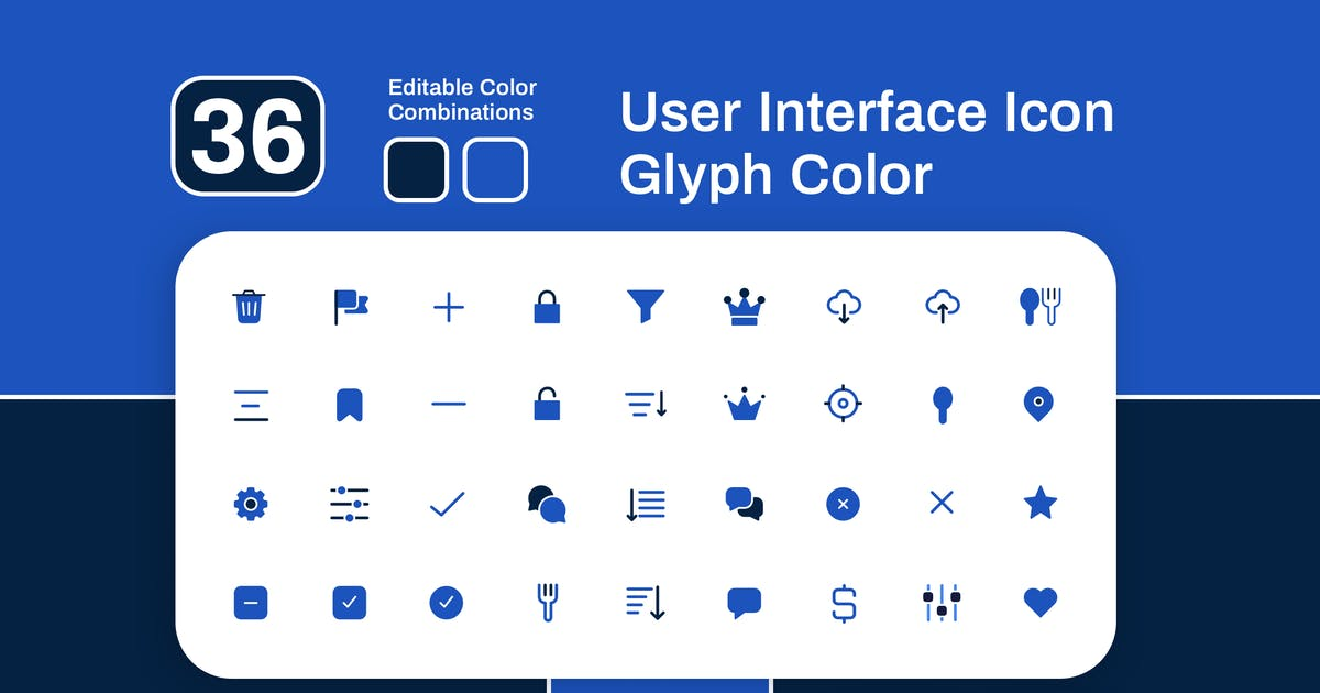 Download User Interface Glyph Color Icon Set by sudutlancip