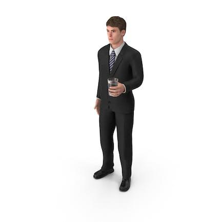 Businessman John Holding Drink