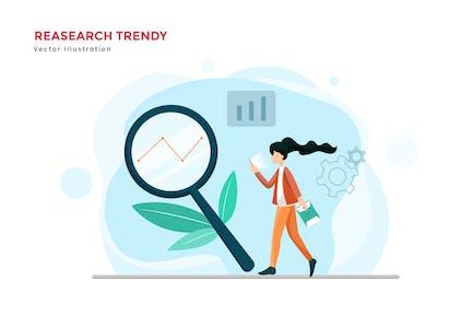 Ilustración vectorial de búsqueda de tendencias