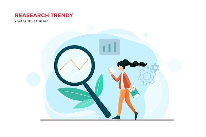 Thumbnail for Trending research vector illustration
