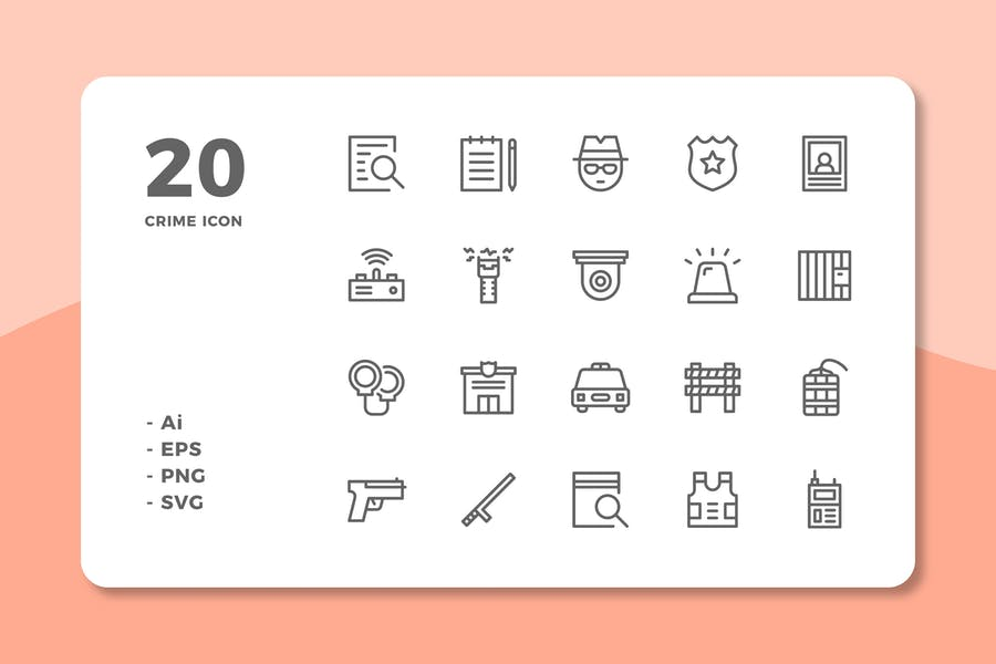 20 Crime Icons (Line)