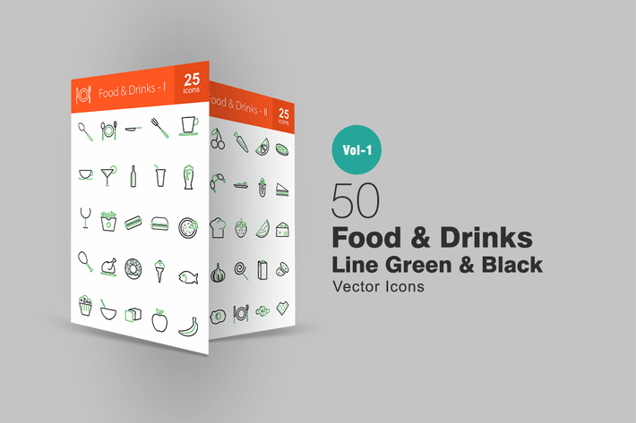Thumbnail for 50 Food & Drinks Line Green & Black Icons