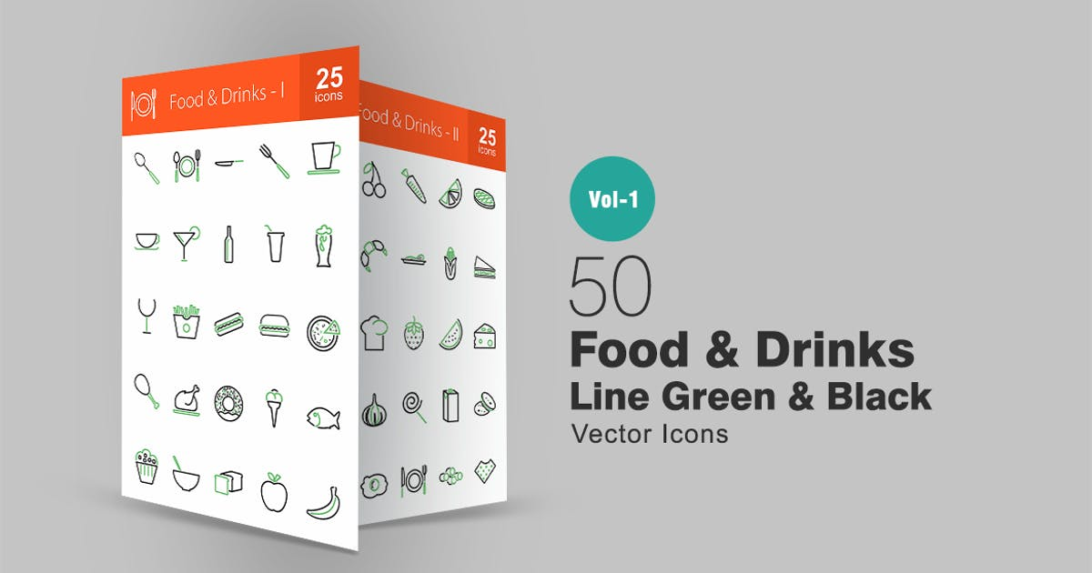 Download 50 Food & Drinks Line Green & Black Icons by IconBunny