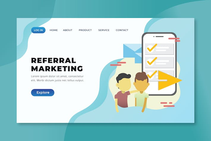 Thumbnail for Referral Marketing - XD PSD AI Vector Landing Page