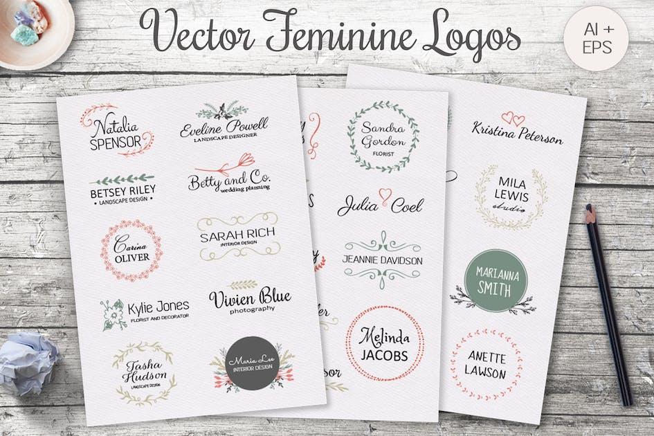 Download Vintage Feminine Logo Templates by switzergirl