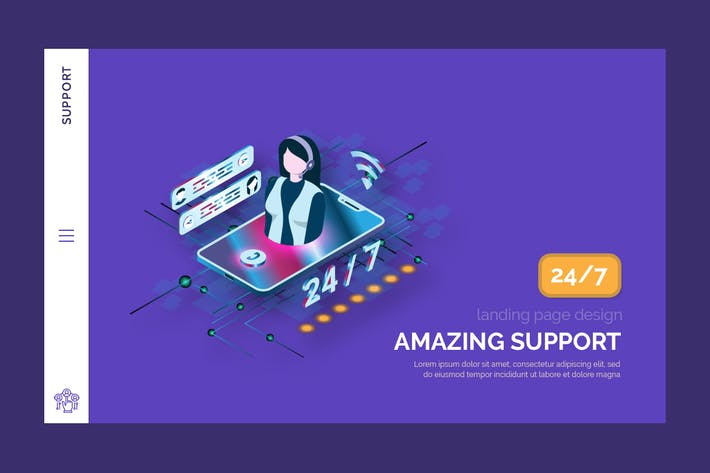 Thumbnail for Support - Hero Banner Landing Page Template