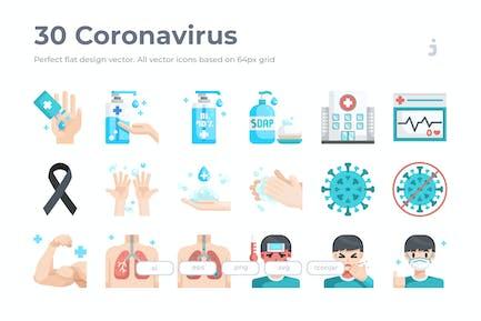 30 Coronavirus Icons - Flat