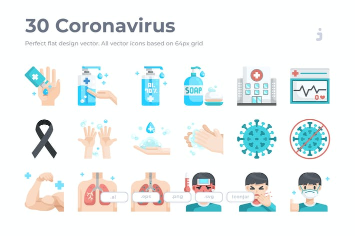 Thumbnail for 30 Coronavirus Icons - Flach