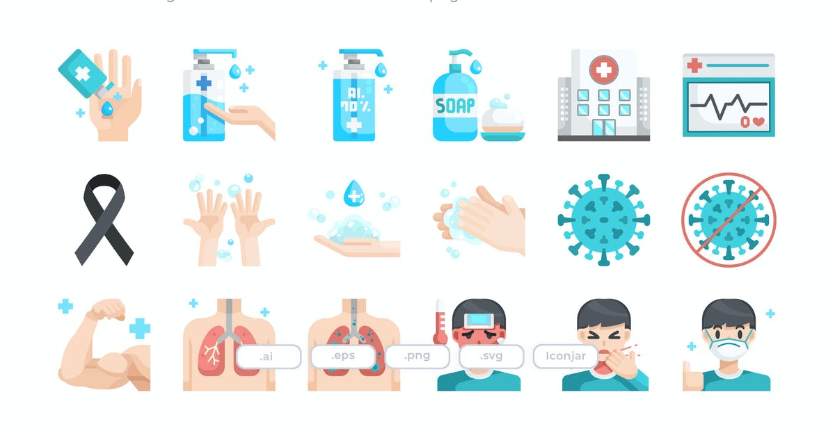 Download 30 Coronavirus Icons - Flat by Justicon