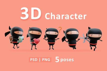 Ninja - 3D Black Ninja Cartoon in Various Poses