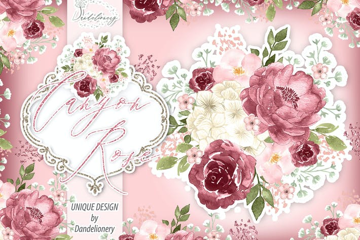 Thumbnail for Watercolor Canyon Rose design
