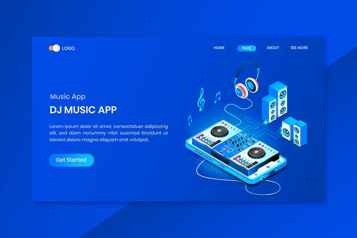 Thumbnail for Music Studio Isometric Concept Landing Page