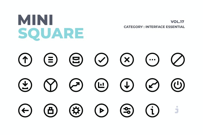 Thumbnail for Mini square - 100 Interface Essential Icons