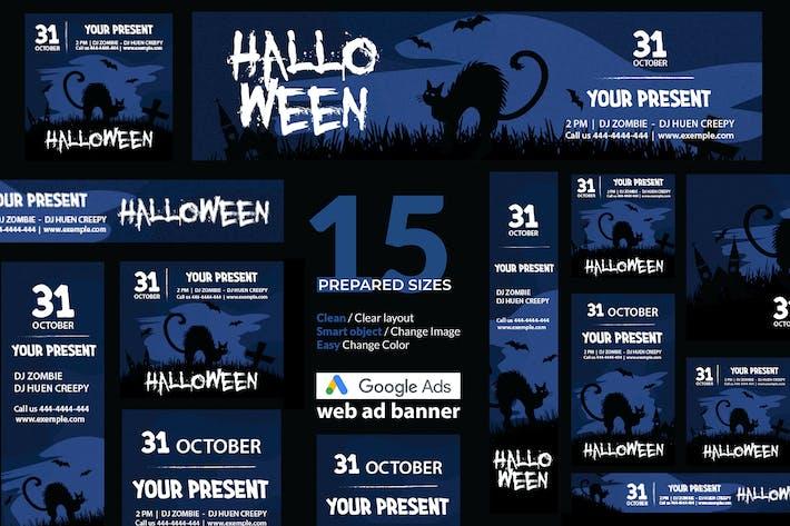 Thumbnail for Halloween Event Google Ads Web Banner - Huen
