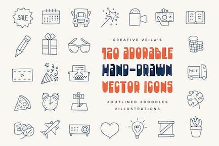 Entzückende handgezeichnete Vektoren Icons