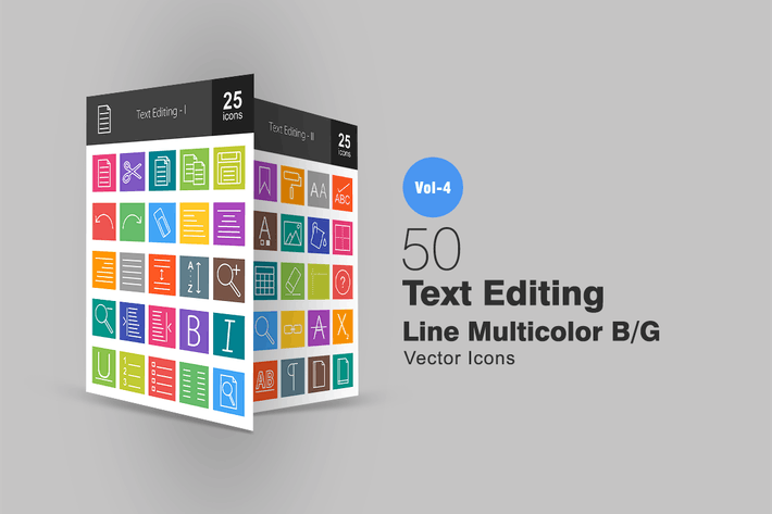 Thumbnail for 50 Text Editing Line Multicolor Icons